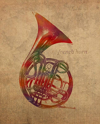 Horns Mixed Media - French Horn Brass Instrument Watercolor Portrait On Worn Canvas by Design Turnpike