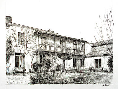 French House - Black Ink Print by Nicolas Jolly