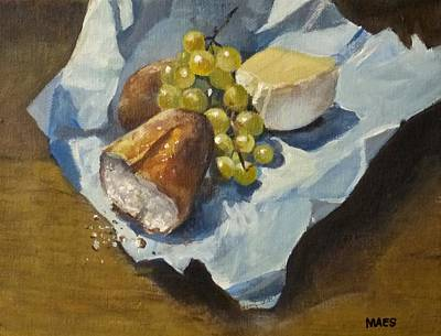Bread And Cheese Painting - French Lunch by Walt Maes