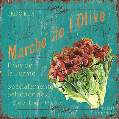 Lettuce Painting - French Market Sign 3 by Debbie DeWitt