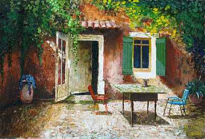 Table And Chairs Photograph - French Patio, 2006 Oil On Board by Trevor Neal