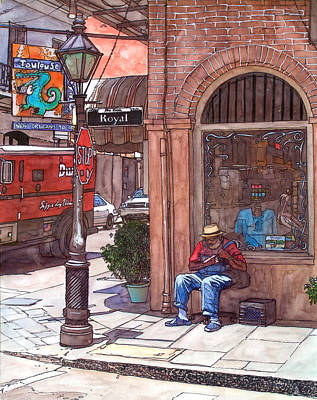 Bourbon Street Painting - French Quarter Royal St. by John Boles