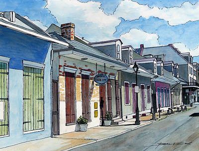Sidewalk Drawing - French Quarter Street 211 by John Boles