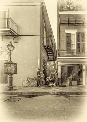 French Quarter Trio - Paint Sepia Print by Steve Harrington