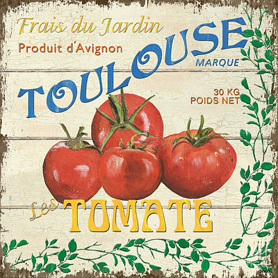 Tomato Painting - French Veggie Sign 3 by Debbie DeWitt