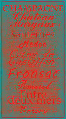 French Wines - 5 Champagne And Bordeaux Region Print by Paulette B Wright