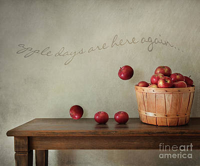 Fresh Apples On Wooden Table Print by Sandra Cunningham