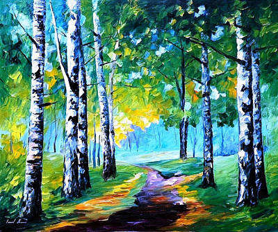 Fresh Birches - Palette Knife Oil Painting On Canvas By Leonid Afremov Original by Leonid Afremov
