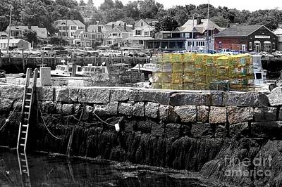Yellow Lobster Pots Print by Eunice Miller