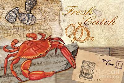 Fresh Catch Red Crab Print by Paul Brent