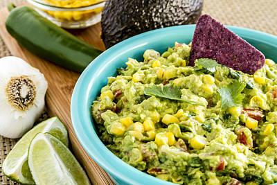 Tex-mex Photograph - Fresh Corn And Guacamole Dip by Teri Virbickis