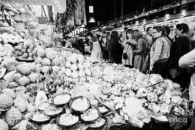 Boqueria Photograph - fresh fruit inside the crowded  la boqueria market in Barcelona Catalonia Spain by Joe Fox