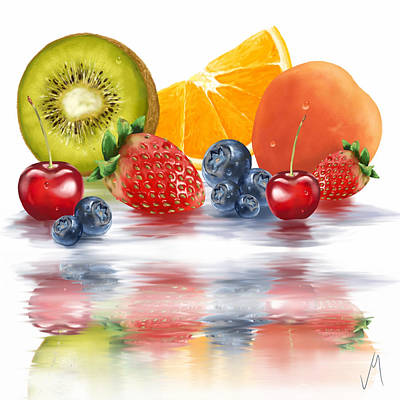 Kiwi Art Painting - Fresh Fruits by Veronica Minozzi