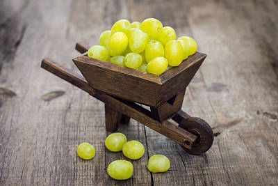 Wine Cart Photograph - Fresh Green Grapes In A Wheelbarrow by Aged Pixel