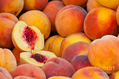 Tangy Photograph - Fresh Organic Peaches  by Leyla Ismet