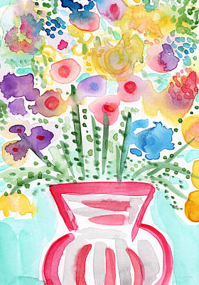 Flowers And Roses Mixed Media - Fresh Picked Flowers- Contemporary Watercolor Painting by Linda Woods
