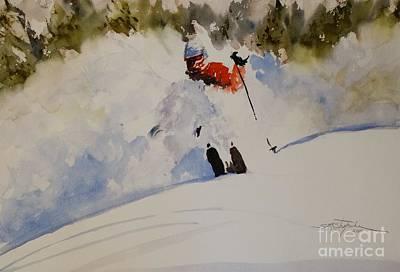 Ski Painting - Fresh Powder by Sandra Strohschein