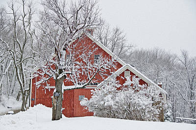 Backroad Photograph - Fresh Snow On Red Barn Paint Version by Donna Doherty