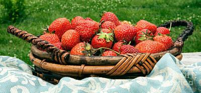 Fresh Strawberries In Basket Print by Iris Richardson