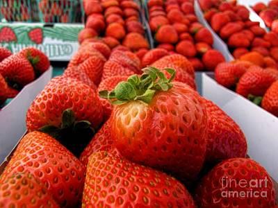 Fresh Strawberries Print by Peggy Hughes