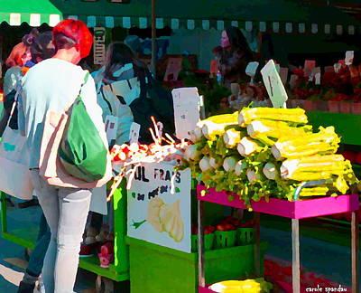 Fruit Stand Painting - Fresh Summer Produce Atwater Farmers Market Celery And Garlic Table Urban Scene Carole Spandau by Carole Spandau
