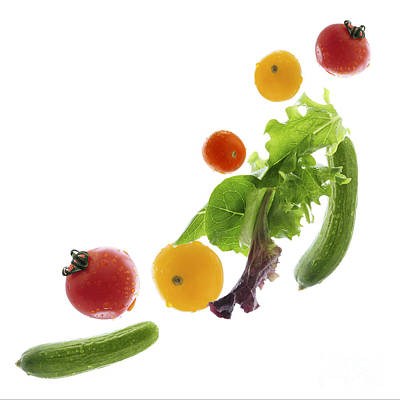 Cucumber Photograph - Fresh Vegetables Flying by Elena Elisseeva