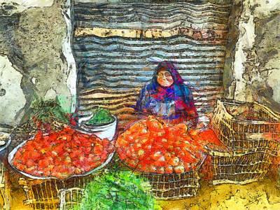 Vegetable Market Drawing - Fresh Vegetables by George Rossidis