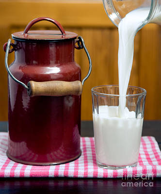 Old Milk Jugs Photograph - Fresh White Milk Into Glass by Viktor Pravdica