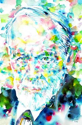 Freud Painting - Sigmund Freud - Watercolor Portrait.1 by Fabrizio Cassetta