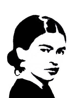 Kahlo Mixed Media - Frida Black And White by Michelle Dallocchio