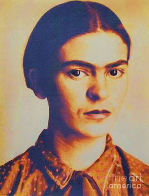Kahlo Mixed Media - Frida In Sepia  3 by Roberto Prusso