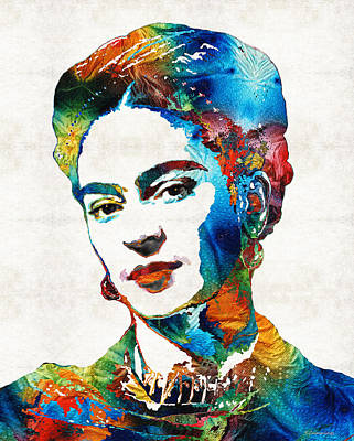 Of Cool Colors Painting - Frida Kahlo Art - Viva La Frida - By Sharon Cummings by Sharon Cummings