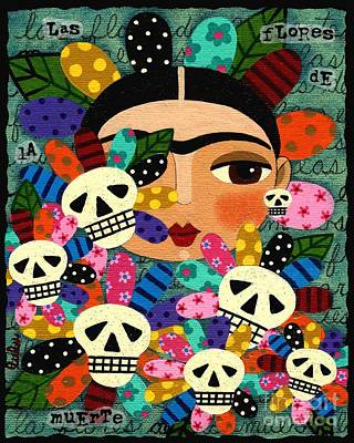 Frida Kahlo Day Of The Dead Flowers Print by LuLu Mypinkturtle