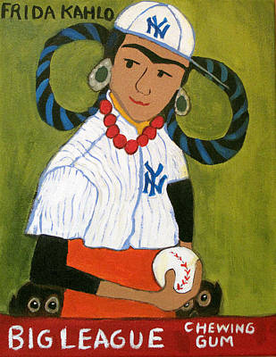 Baseball Card Painting - Frida Kahlo's Rookie Card by Jennie Cooley