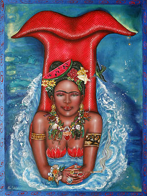 Lovebird Painting - Frida Makes A Splash by Ilene Satala
