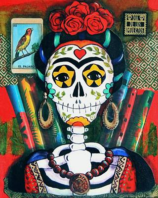 Loteria Painting - Frida With Flutes by Candy Mayer