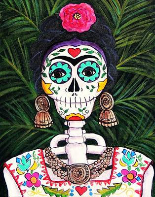 Folkloric Painting - Frida With Palms by Candy Mayer