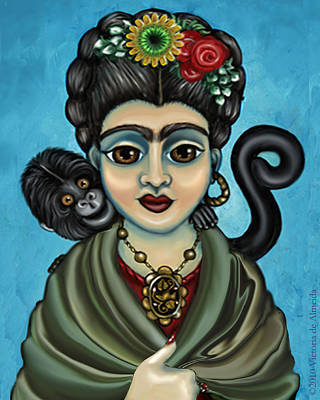 Chimpanzee Painting - Frida's Monkey by Victoria De Almeida