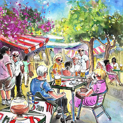 Travel Sketch Drawing - Friday Morning Market In Turre by Miki De Goodaboom