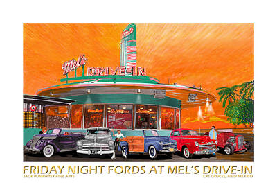 Mels Drive-in Painting -  Mels Diner On Friday Night by Jack Pumphrey