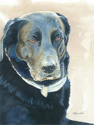 Black Lab Watercolor Painting - Friend Forever by Barbara Jewell