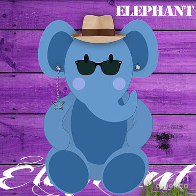 Art For Kids Mixed Media - Friendly Elephant by Marvin Blaine