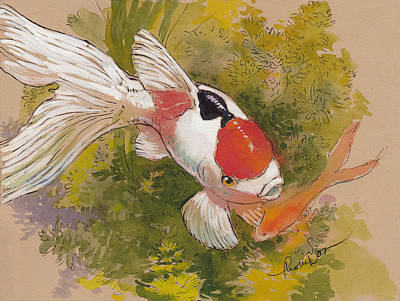 Koi Mixed Media - Friendly Fantail by Tracie Thompson