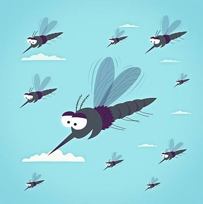 Friendly Mosquitos Print by Mark Airs