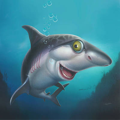 Water Theme Painting - Friendly Shark Cartoony Cartoon - Under Sea - Square Format by Walt Curlee