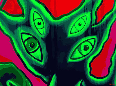 Brain Painting - Friendly Visitor On Planet Hope by Sir Josef Social Critic - ART