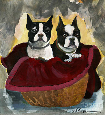 Friends.  A Pair Of Boston Terrier Dogs Snuggle In A Warm Basket. Print by Cathy Peterson