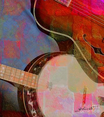 Friends Again Digital Banjo And Guitar Art By Steven Langston Print by Steven Lebron Langston