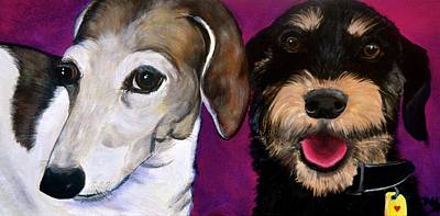 Beagle Puppies Painting - Friends Forever by Debi Starr