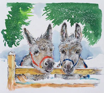 Donkey Drawing - Friends In The Field by Diane Matthes